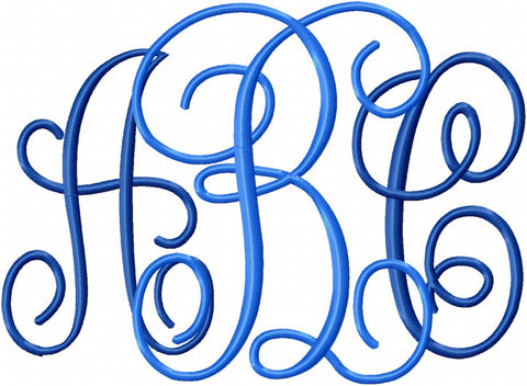"Jumbo Interlocking Monogram Font - 9.5"" Center Letters and 7.5"" Side Letters, Machine Embroidery Design"