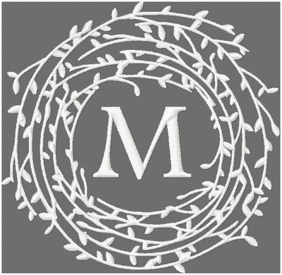 Twig wreath monogram frame border, machine embroidery design comes in 4x4, 5x5, 6x6, 7x7
