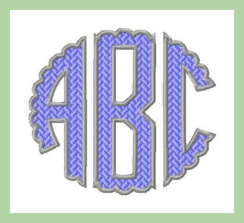 Scalloped Circle patterned and outlined Monogram Font