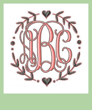 Sweet Laurel Circle Monogram Frame - Machine Embroidery Design