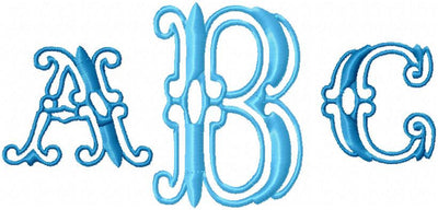 Intervent Monogram Font - Comes in 2 sizes 2 and 3 inch- Machine embroidery Font
