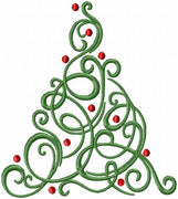 Swirl Christmas Tree - machine Embroidery Design - Comes in 4 Sizes