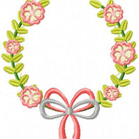 Laurel Wreath with Flowers and Bow