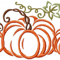 Pumpkin With Vines Machine Embroidery Design - comes in 3 versions