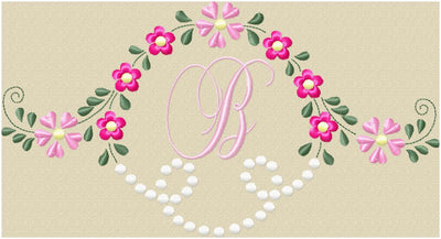FLOWERS AND DOT MONOGRAM FRAME