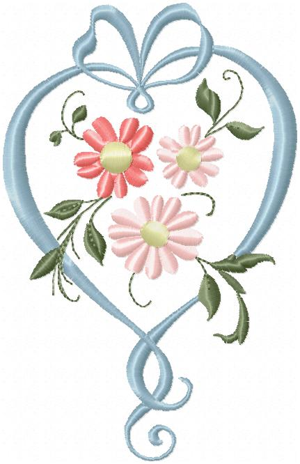 Heart Ribbon Floral Design