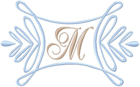 Curl Drop Monogram Frame - Machine Embroidery Design