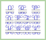 Split Vines Font - with Name Frame - Comes in 3,4,5,6,and 7 Inch Sizes