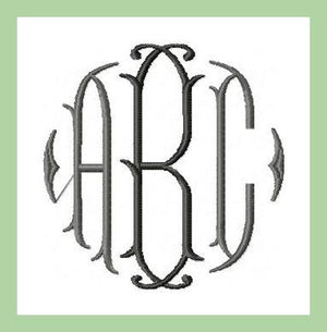 Vintage Diamond Monogram comes in 3 inch size  Machine Embroidery Monogram