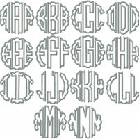 Scallop Circle Embroidery Monogram Applique Font -4,5,6 inch size Machine embroidery