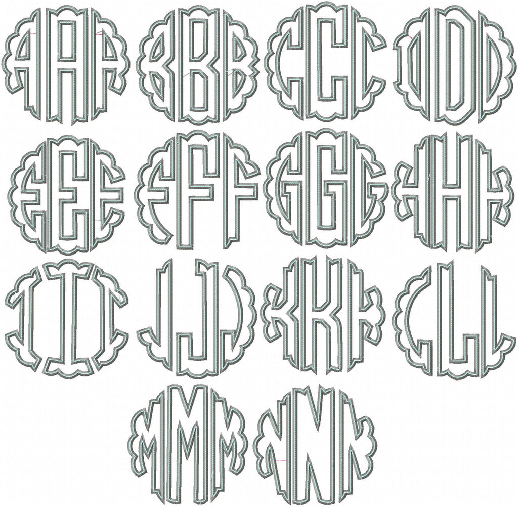 scallop circle embroidery monogram applique font
