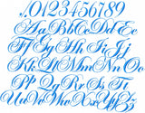 Wedding Script Font - Machine Embroidery Font - 3.5 inch size - includes upper, lower case with numbers