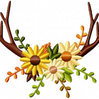 Antlers and Flowers Arrangement Border Frame