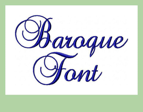 Baroque Script Font - Comes in 2,3, and 4 inch Sizes
