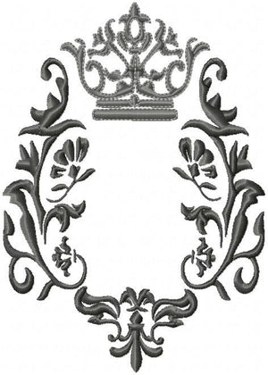 Crown and Flourish machine embroidery Design