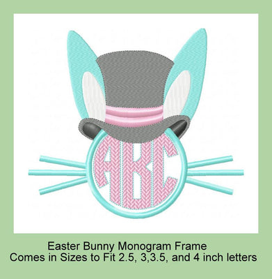 Easter Bunny Monogram Frame - Comes in Sizes to Fit 2.5, 3, and 3.5 inch letters