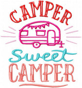 Camper Sweet Camper - machine embroidery design