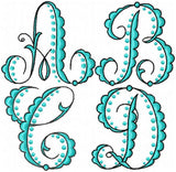 Scallop Dot Monogram Font - Machine Embroidery Font 2.5, and 4 inch size
