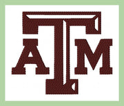 Texas A & M  Embroidery Design  comes in 4,5,6, and 7 inch sizes