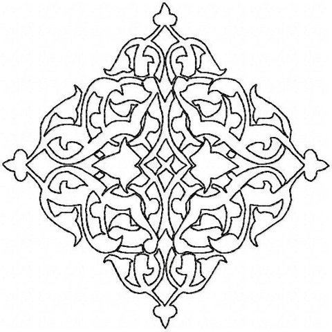 Diamond Shape Flourish Background - machine embroidery design
