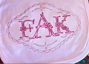 "Piping Monogram Set - 5.25"" Center with 3"" side letters - comes with 13 frames  Machine embroidery Monogram Font"
