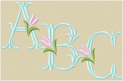 Tulip Monogram Font - Comes in 2 and 4 inch sizes