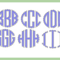 Scallop Textured Circle Monogram Font- 6 inch letters