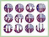 Texas Flag Circle Monogram Font 2.5 and 3 inch Sizes