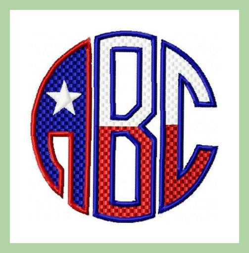 Texas flag circle monogram font and inch sizes