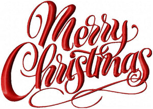 Merry Christmas - Machine Embroidery Design - Comes in 4 sizes
