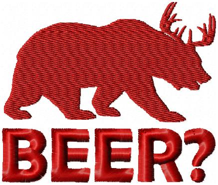 BEER? - DEER AND BEAR EMBROIDERY DESIGN