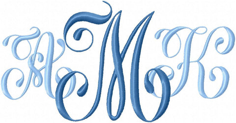 Glamour Monogram Font - Comes in 2,3,4,5 inch Sizes - machine embroidery font