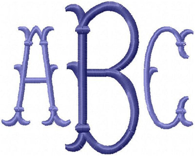 Erin Monogram Font - Machine Embroidery Font - comes in 4 inch center and 2.5 inch side letters
