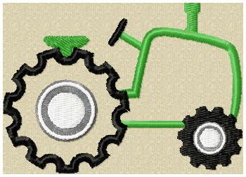 Tractor Applique Design - machine embroidery design