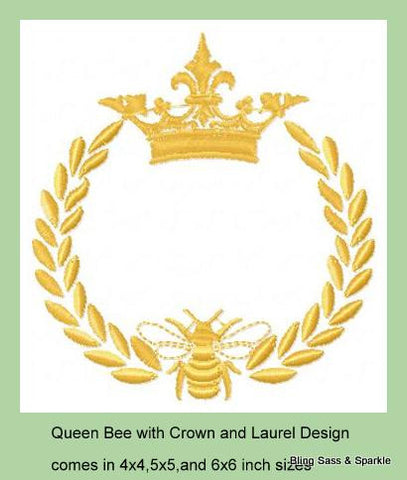 Queen Bee with Laurel and Crown Comes in 4x4,5x5,6x6 inch sizes