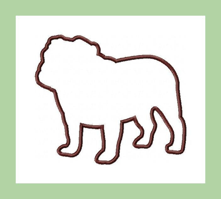 Bulldog Silhouette Applique - Comes in 4,5,6 and 7 inch sizes