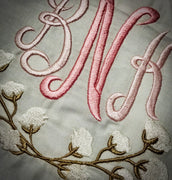 Cotton Ball Monogram Border - machine Embroidery Design