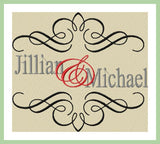 Split Wedding Scroll Name Frame