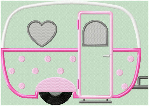 Camper with Dots - machine Applique Design
