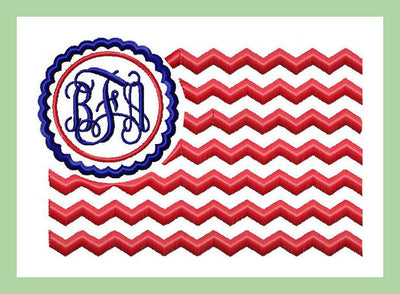 American Flag Monogram Frame - Machine Embroidery Design