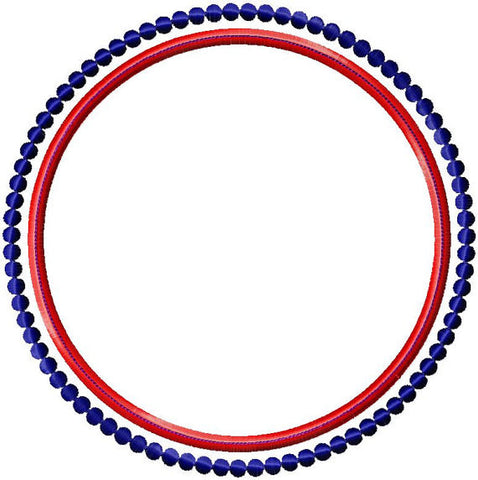 Applique Circle with Beaded Circle Border - comes in 4,5,6,7,8 inch sizes