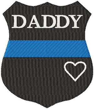 Thin Blue Line Shield and Star with Heart