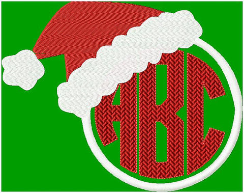 Santa hat Circle Monogram frame come in sizes to fit 4,3.5,3,2.5,2,and 1.5 inch letters