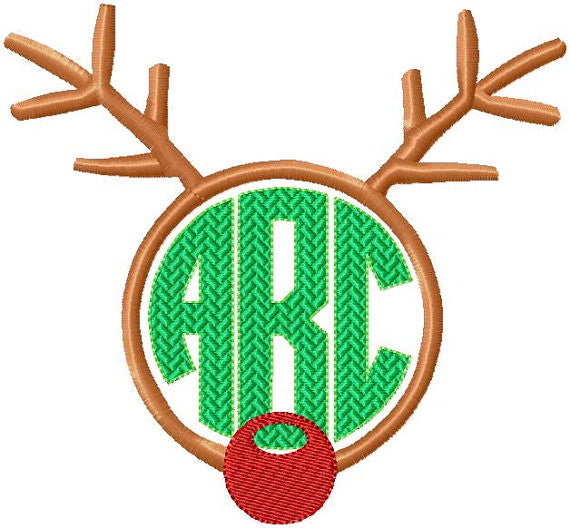 Reindeer Monogram Frame - comes in 6 sizes to fit 4,3.5,3,2.5,2,and 1.5 inch letters