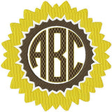 Sunflower Monogram Frame comes in 5 sizes to fit 4,3,2.5,2,1.5 inch letters