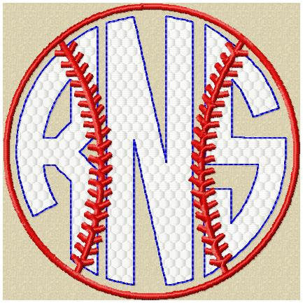 Baseball Monogram Frame - sizes to fit 4,3.5,3,2.5,2 inch letters