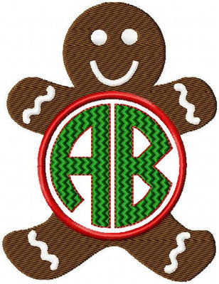 Gingerbread Monogram Frame comes in sizes to fit 4,3.5,3, 2.5 and 2 inch letters