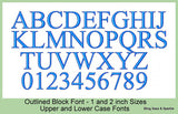 Outlined Block  Font - 1 an 2 inch Sizes