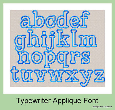 Typewriter Applique Font - Upper and Lower Case  3 Inch