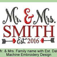 Mr. & Mrs. Family Name Frame with Date